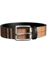 Burberry Vintage Check Leather Belt Nude And Neutrals
