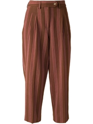 Stella Jean Striped Cropped Trousers Brown