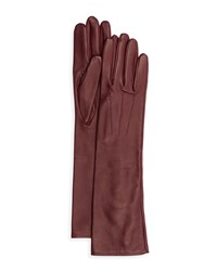 Lanvin Silk Lined Long Leather Gloves Size 8.5 Red Burgundy