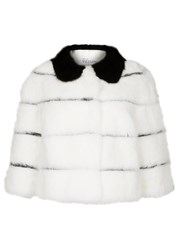 Red Valentino White Striped Fur Jacket White And Black