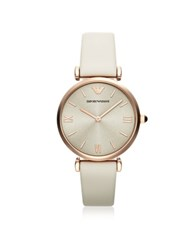 Emporio Armani Gianni T Bar Rose Gold Tone Women's Watch W Ivory Leather Band Pink