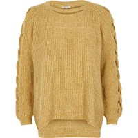 River Island Womens Yellow Ribbed Knit Cut Out Jumper