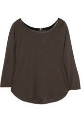 Enza Costa Leather Trimmed Stretch Jersey Top Brown