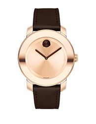Movado Rose Goldtone Stainless Steel Brown Leather Strap Watch 3600380