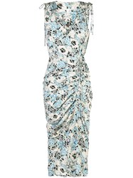 Veronica Beard Sleeveless Ruched Floral Dress Blue