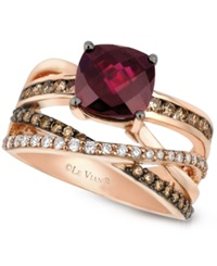 Le Vian Raspberry Rhodolite Garnet 2 3 4 Ct. T.W. And Chocolate And White Diamond 3 4 Ct. T.W. Ring In 14K Rose Gold