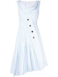 Delpozo Asymmetric Striped Dress White