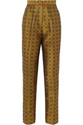 Saloni Maxima Floral Brocade Tapered Pants Gold