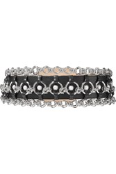 Balmain Chain And Faux Pearl Embellished Leather Belt Black