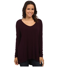 Michael Stars 2X1 Rib Long Sleeve Wide Vee Neck Hi Low Monarch Women's Clothing Purple