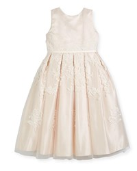 Joan Calabrese Satin Dress W Floral Embroidered Overlay Ivory Size 4 14