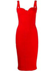 Victoria Beckham Sweetheart Fitted Midi Dress Red