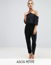 Asos Petite Jumpsuit With Ruffle Bardot And Halter Neck Detail Black