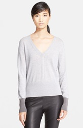 Rag And Bone 'Jessica' Merino Wool V Neck Sweater Light Grey Melange