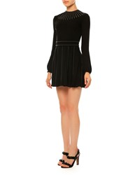 Valentino Long Sleeve Studded Silk Georgette Dress Black Nero