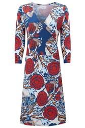 Almost Famous Oriental Floral Wrap Dress Red