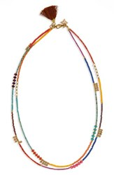 Panacea Women's Double Row Tassel Necklace Yellow Multi