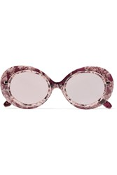 Krewe Iris Round Frame Acetate And Rose Gold Tone Mirrored Sunglasses Pink