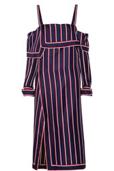 Monse Off The Shoulder Wrap Effect Striped Silk Twill Top Navy