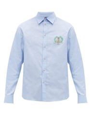 Gucci Crest Logo Cotton Poplin Shirt Blue