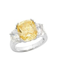 Crislu Confetti Canary Platinum Plated Sterling Silver Cocktail Ring No Color