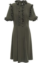 Mikael Aghal Woman Ruffled Pintucked Twill Dress Army Green