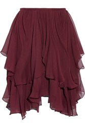 Chloe Asymmetric Layered Silk Georgette Mini Skirt Burgundy