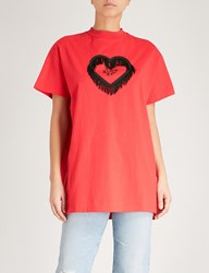 Lazy Oaf Thinking Of You Cotton Jersey T Shirt Red