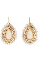 Kenneth Jay Lane Gold Tone Faux Pearl And Stone Earrings One Size