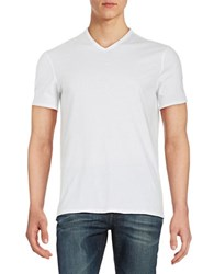 Black Brown V Neck Tee Bright White