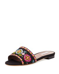Tabitha Simmons Sprinkles Embroidered Slide Sandal Black Black Multi