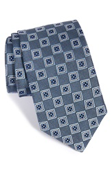 J.Z. Richards Medallion Woven Silk Tie Blue