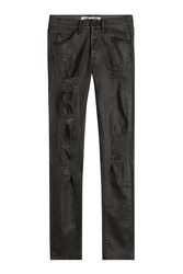 Off White Slim Fit Five Pocket Jeans With Rips Black