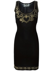 Moschino Vintage Embroidered Fitted Dress Black