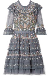 Needle And Thread Paradise Ruffled Embroidered Tulle Dress Blue Usd