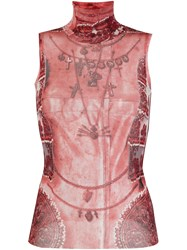 Jean Paul Gaultier Vintage Sleeveless Sheer Printed Top Red