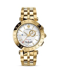 Versace V Race Gmt Alarm Stainless Steel And Gold Pvd Watch 46Mm Yellow Gold