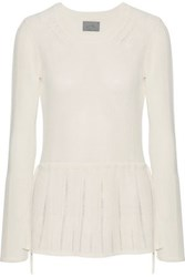 Maiyet Pointelle Trimmed Ribbed Stretch Knit Peplum Sweater White