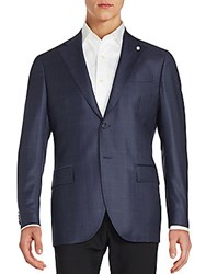 Lubiam Checked Wool Blazer Navy