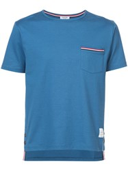 Thom Browne Short Sleeve T Shirt With Chest Pocket In Blue Jersey Cotton