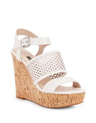French Connection Devi Perforated Leather Wedge Sandals White