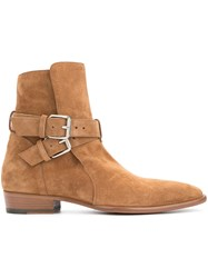 Amiri Buckle Ankle Boots Brown