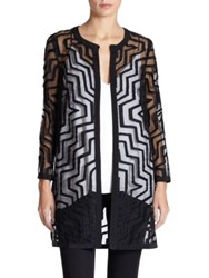 Milly Aztec Textured Sheer Jacket Black