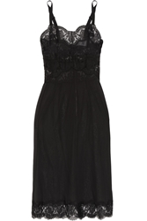 Dolce And Gabbana Lace Trimmed Silk Blend Chiffon Chemise