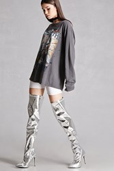 Forever 21 Privileged Shoes Metallic Boots Silver
