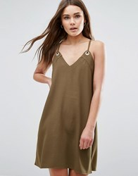 First And I Cami Dress Dark Olive Green