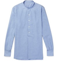 Anderson And Sheppard Grandad Collar Cotton Cashmere Blend Shirt Blue