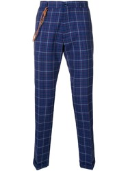 Berwich Checked Slim Fit Trousers Blue