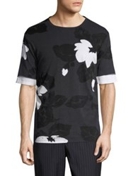 3.1 Phillip Lim Double Sleeve Floral T Shirt Black
