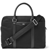 Hugo Boss Leather Trimmed Canvas Briefcase Black